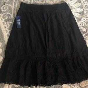 CHAPS Safari Black Knee Length Skirt